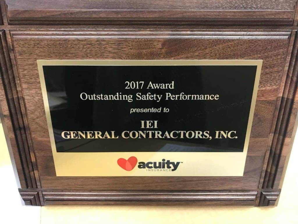 IEI General Contractors earns pair of insurance industry safety awards
