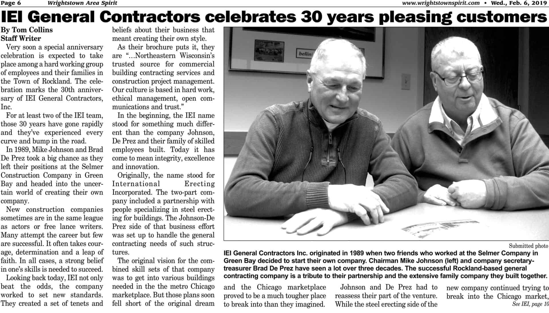 Read more about the article IEI General Contractors celebrates 30 years pleasing customers